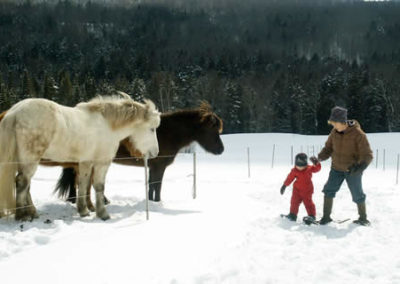 June Explains the Finer Points of Snowshoeing to Isabelle | Vermont Horse Farm & Vacation Rental in Fayston, Vermont
