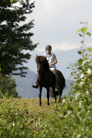 Karen and Loki in the hills behind the farm | Vermont Icelandic Horse Farm & Vacation Rental in Waitsfield